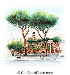 város, róma, kilátás, olaszország, színpadi
