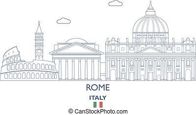 város, róma, olaszország, láthatár