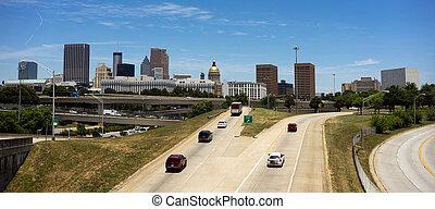 Város, rohanás, grúzia, óra, autó, belvárosi, láthatár, Behatol,  Atlanta, autóút