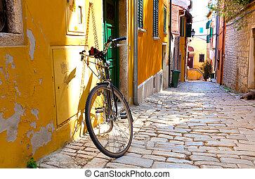 város, rovinj, kicsi, utca, horvátország