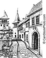 város, skicc, öreg, étterem, rajz, terasz, csendes