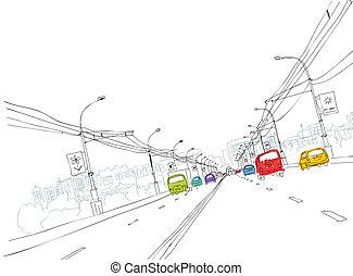 város, skicc, forgalom, tervezés, -e, út
