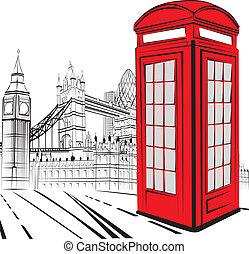város, skicc, london