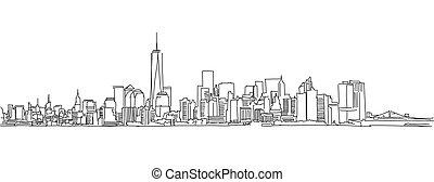 város, skicc, szabad, kéz, vektor, york, új, skyline., firkálás