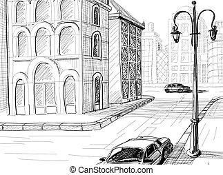 város, skicc, vektor, háttér