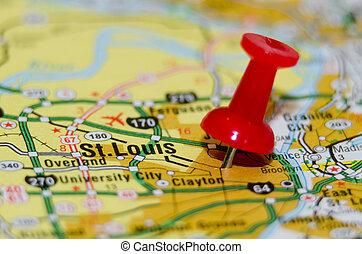 város, st. louis, missouri, gombostű, térkép
