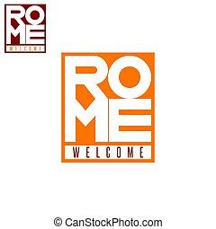 város, szó, mockup, poszter, doboz, póló, róma, nyomtat, idegenforgalom, felirat, olasz