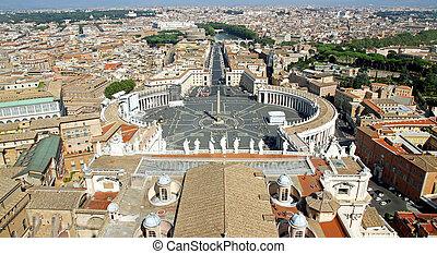 város, szanatórium, körképszerű, templom kupola, pietro, róma, 4, felül, vaticano, kilátás