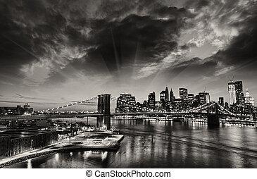 város, tél, -, láthatár, napnyugta, york, új, manhattan