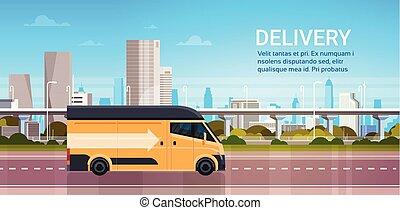város, termék, ingóságok, szállítás, szolgáltatás út, felett, modern, hajózás, felszabadítás, fogalom, csereüzlet, gyorsan, háttér