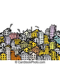 város, tervezés, -e, háttér, skicc