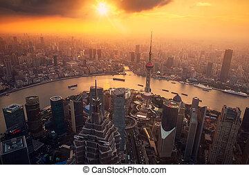 város, tető, shanghai, tető, magas, láthatár, bástya