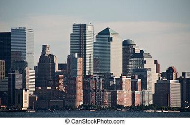 város, usa, nyc, belvárosi, york, új, láthatár