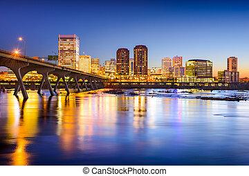 város, usa, virginia, richmond, belvárosi, skyline.