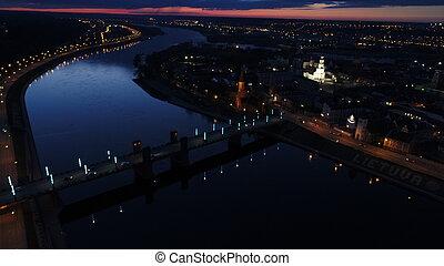 város, Város, antenna, Éjszaka, öreg, kilátás
