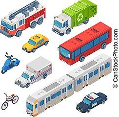 város, város, isometric, állhatatos, rendőrség, transport., elbocsát, autó, kiképez, vektor, bus., aluljáró, taxi, autók, forgalom, engine., mentőautó, közönség, 3