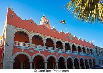 város, város, mexikó, yucatan, merida, előszoba