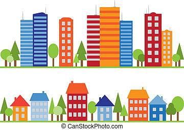 város, város, motívum, seamless, falu, vagy