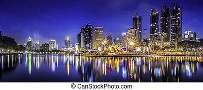 város, város, thaiföld, éjszaka, bangkok