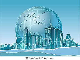 város, vég, eco, modern, földdel feltölt, transzparens