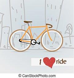 város, vector., bicycle.