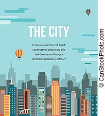 város, vektor, -, háttér