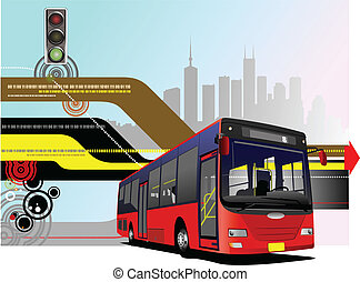 város, vektor, illus, road., autóbusz