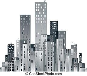 város, vektor, modern, illustration., panoráma