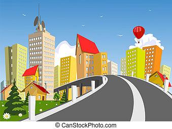 Város, vektor,  -, nyár