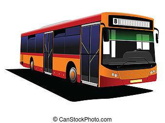 város, vektor, road., illust, autóbusz