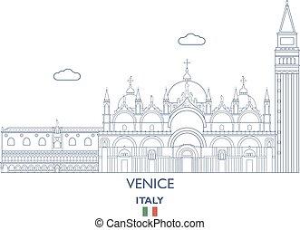 város, velence, láthatár, olaszország