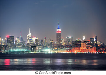 Város,  York,  Manhattan, új, Éjszaka