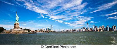 város, york, szobor, új mez, szabadság