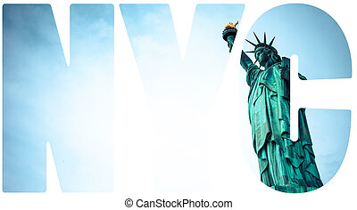 város, york, szobor, szabadság, új
