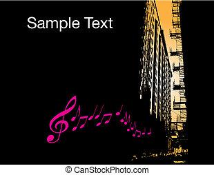város, zene, háttér
