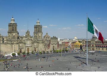 város, zocalo, mexikó
