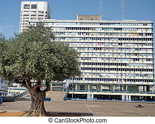 városháza, képben látható, rabin, derékszögben, alatt, tel aviv