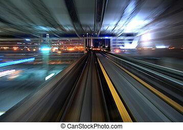 városi, éjszaka, forgalom