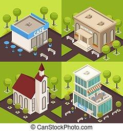városi, építészet, isometric, fogalom