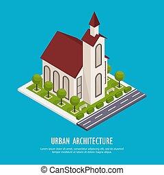 városi, építészet, isometric, háttér