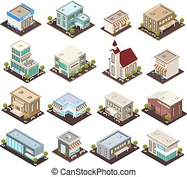 városi, építészet, isometric, ikonok