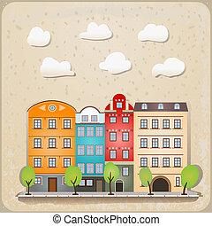 városi, épület, retro, ábra, szüret
