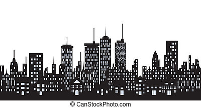 városi, épületek, a városban