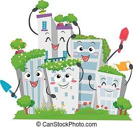 városi, épületek, kertészkedés, ábra, kabala