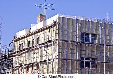 városi, öreg, épület, szigetelés, művek, helyreállítás