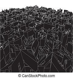 városi, elvont, köb, dobozok, város