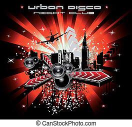 városi, elvont, zene, háttér, disco