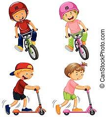 városi, fiú, elnyomott bicikli, és, megrúg, roller