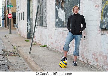 városi, futball, leány, 2