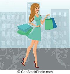 városi, leány, bevásárlás